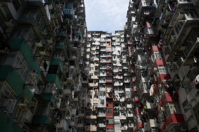 Residential old building in Hong Kong stock photography
