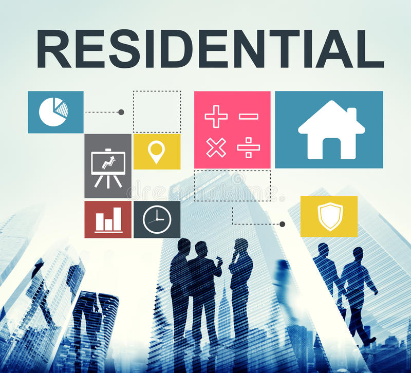 Residential Property Investment House Chart Concept. People Residential Property Investment House Chart Concept royalty free stock image