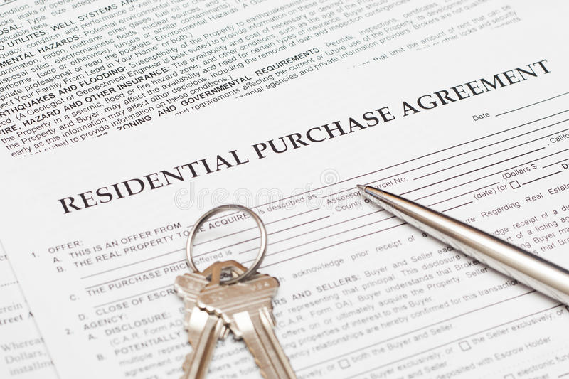 Residential Purchase Agreement Stock Photo  Image Of Loan