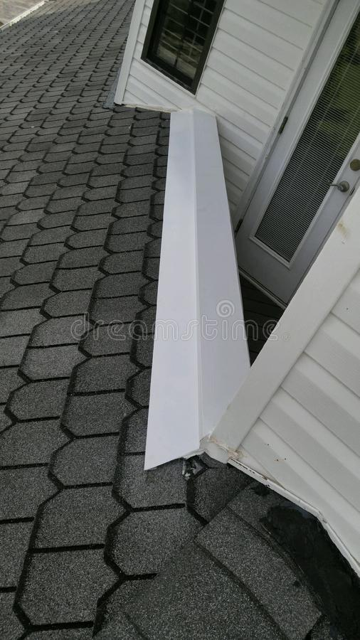 After Residential roofing repairs performed; coping; flashing. Residential roofing repairs, shingle roof, coping, flashing replacement royalty free stock photos