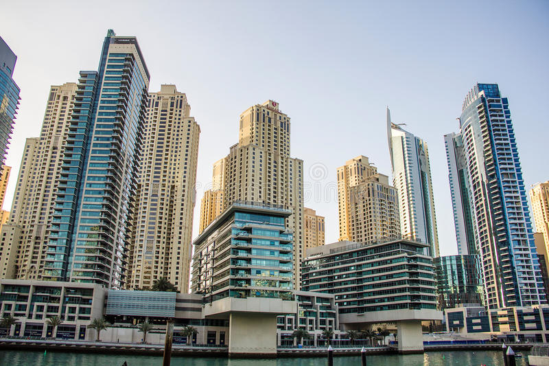 Residential skyscrapers and hotels at Dubai Marina taken on March 24, 2013 in Dubai, United Arab Emirates. stock images