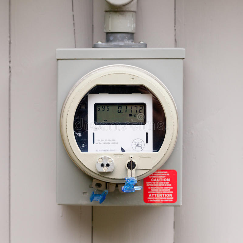 Residential smart grid digital power supply meter royalty free stock photos