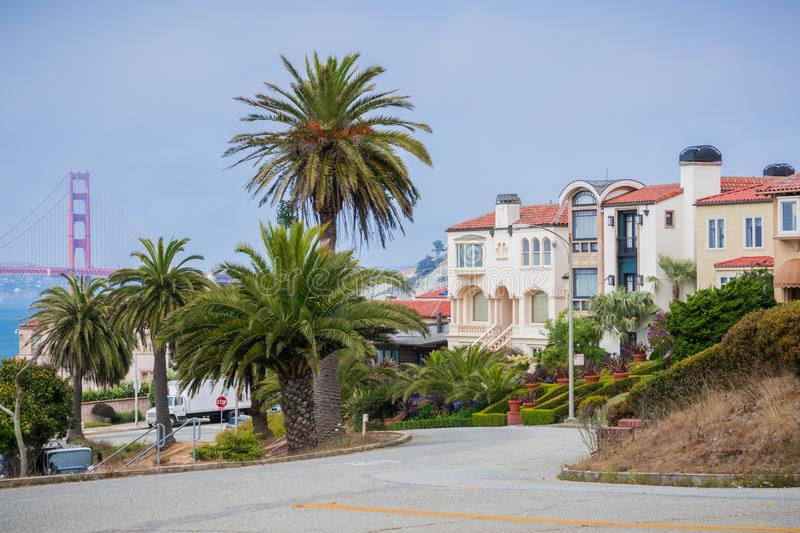 Residential street in the Sea Cliff neighborhood, San Francisco, California stock photos