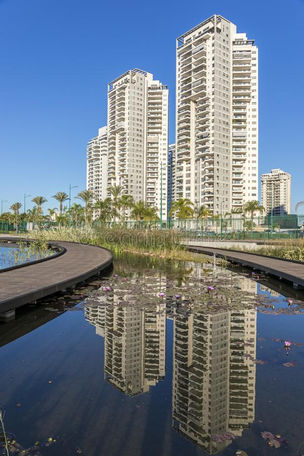 Residential Tower reflection. Reflection of residential tower at the city of Petach Tikva - Israel stock photography