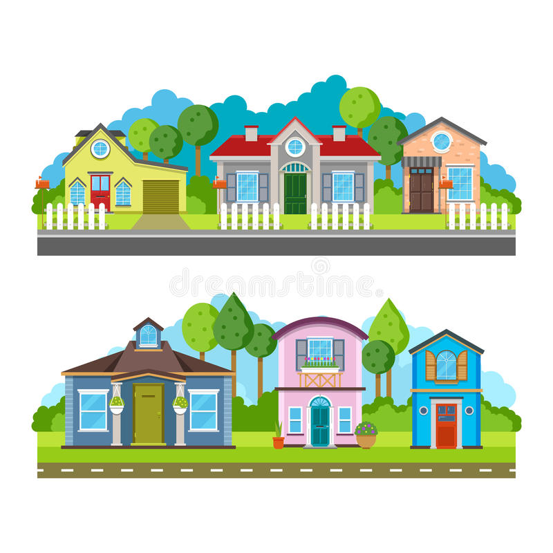 Residential village houses flat vector illustration, urban landscape. Street with building facade and green trees royalty free illustration