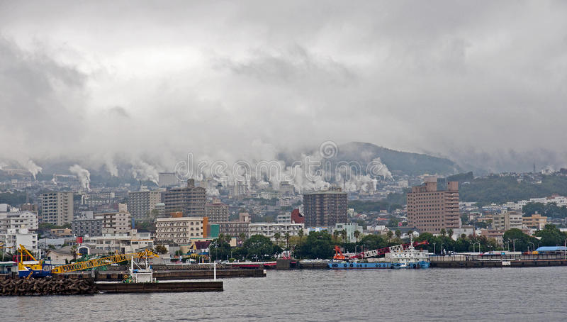 Residential waterfront harbor in Beppu - Japan royalty free stock photography