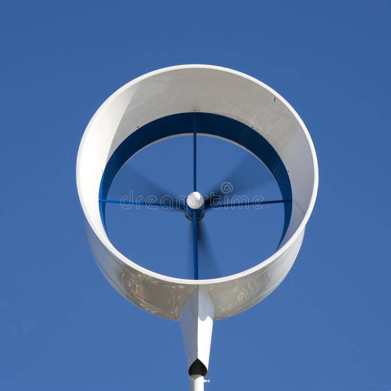 Residential wind turbine. On a house in Almere, the Netherlands royalty free stock photography