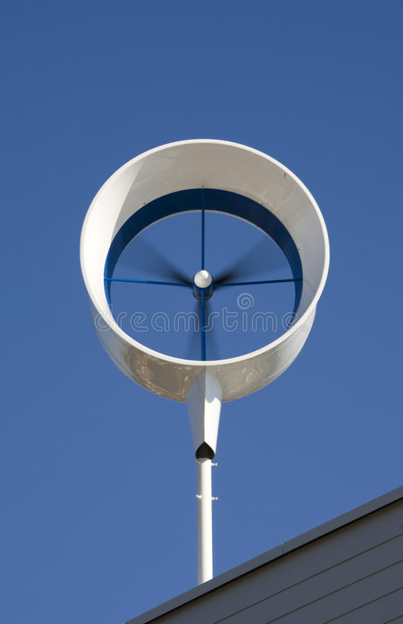 Residential wind turbine. On a house in Almere, the Netherlands stock images
