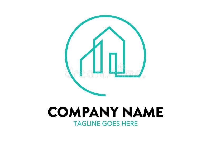 Residentimmobilien-Logoschablone der einzigartigen Hauswohnung stock abbildung