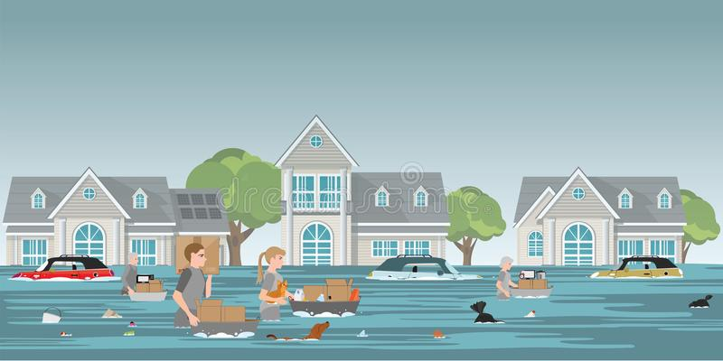 Residents family carrying belongings and pet to walk in high waters after devastating floods in village. Residents family carrying belongings and pet to walk in royalty free illustration