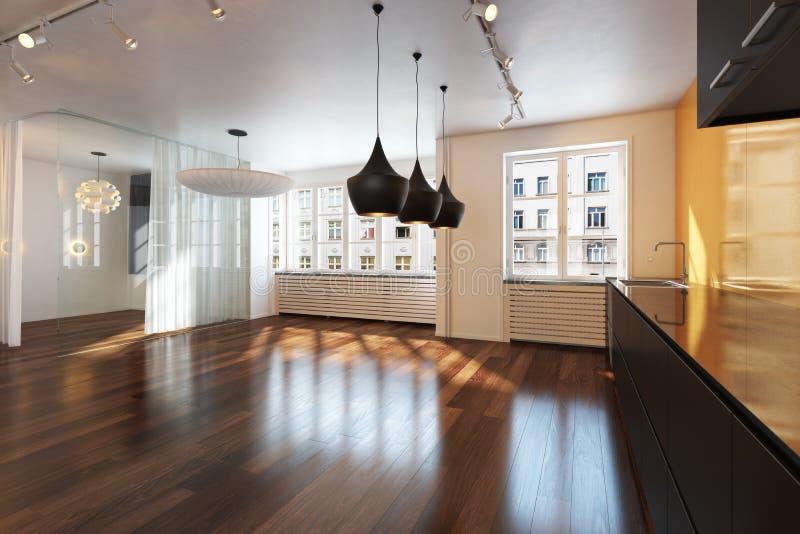 Residenza interna vuota con i pavimenti di legno duro. fotografie stock