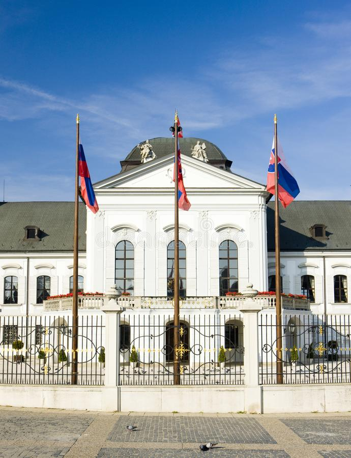 Residenza presidenziale nel palazzo di Grassalkovich sul quadrato di Hodzovo fotografia stock