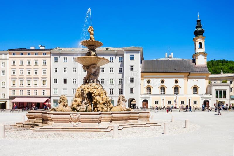 Residenzplatz广场在萨尔茨堡 免版税图库摄影