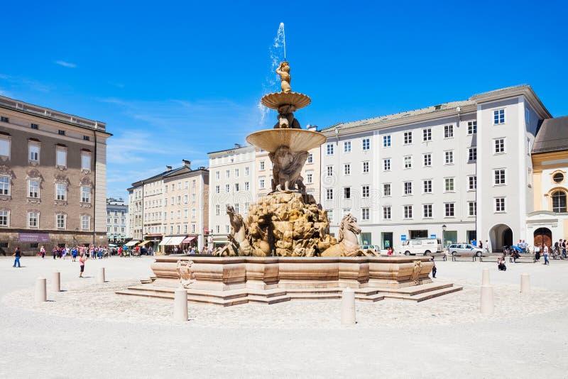 Residenzplatz广场在萨尔茨堡 免版税库存图片
