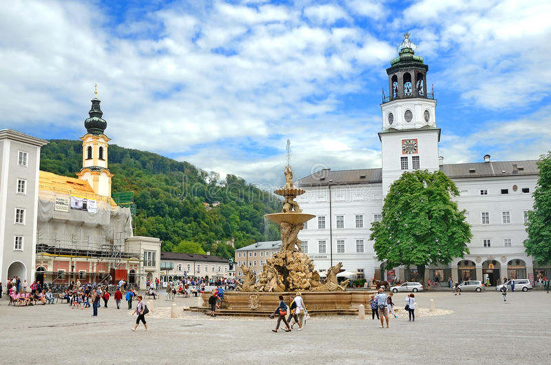 Residenzplatz square in Salzburg, Austria. royalty free stock photo