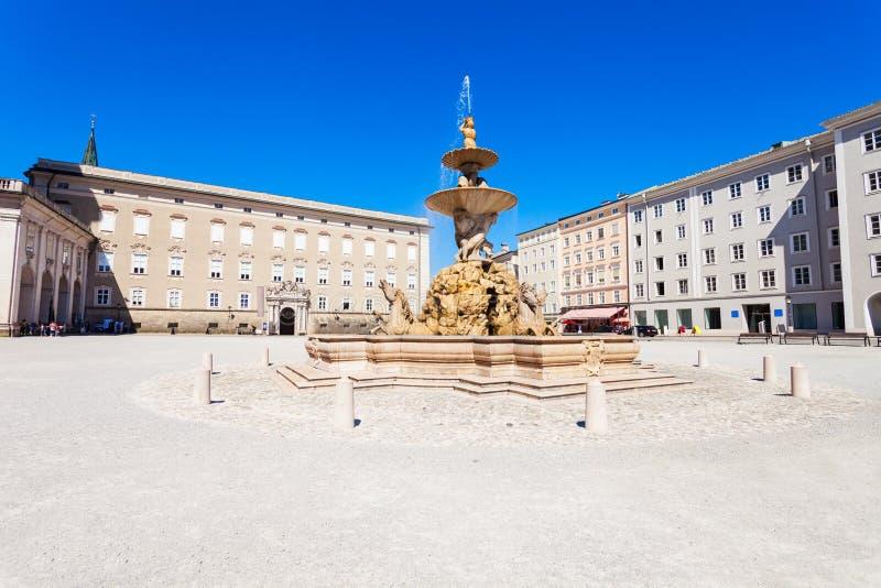 Residenzplatz square in Salzburg. Residenzbrunnen fountain and Residenz Palace on Residenzplatz square in Salzburg, Austria. Residenzplatz is one of the most stock image