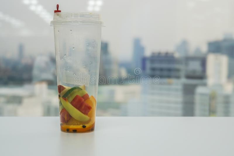 Residue of fruit fuse water in plastic bottle royalty free stock photography