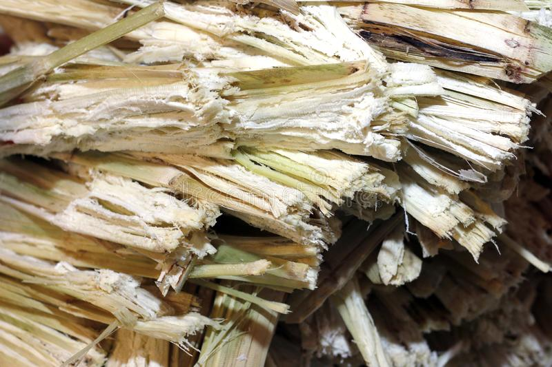 Residue from sugar cane juice and rest from the juice of sweet water was removed, waste of sugarcane residue from sugar cane make stock photos