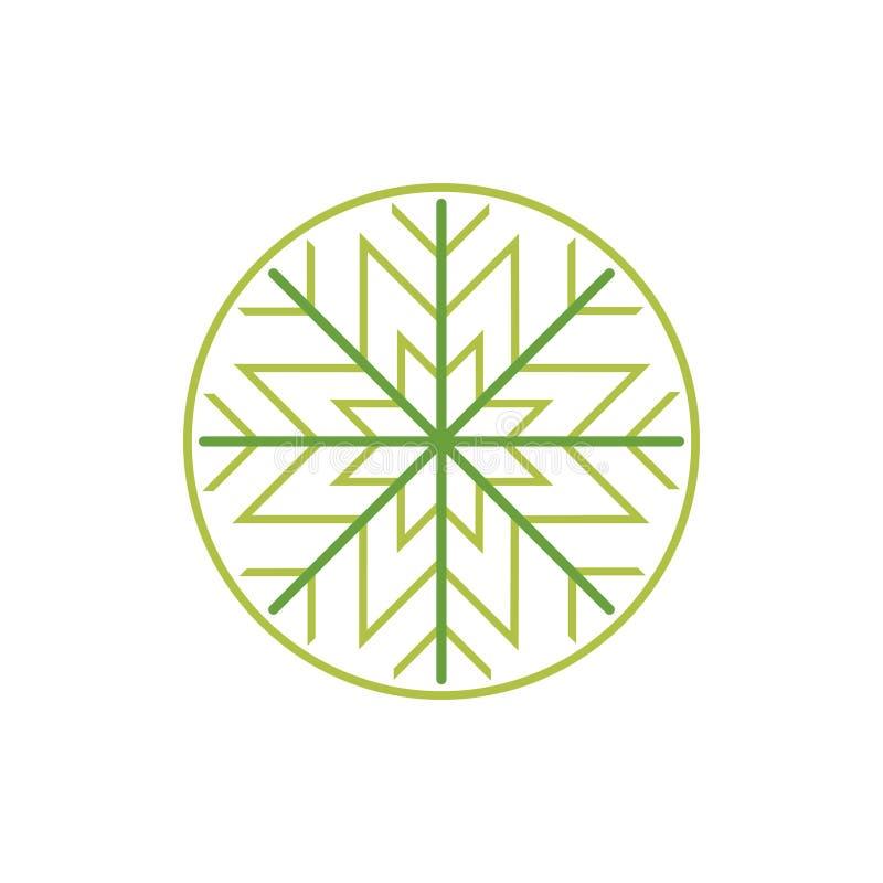 Residuo di stoffa verde Art Style della stella del cerchio della foglia del fiocco di neve royalty illustrazione gratis