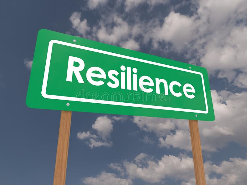 Resilience on green sign board stock illustration