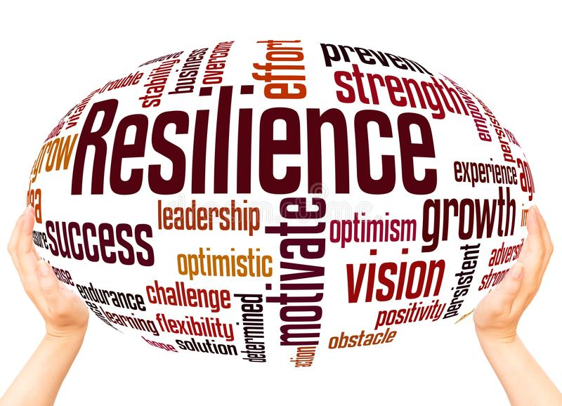 Resilience word cloud sphere concept royalty free illustration