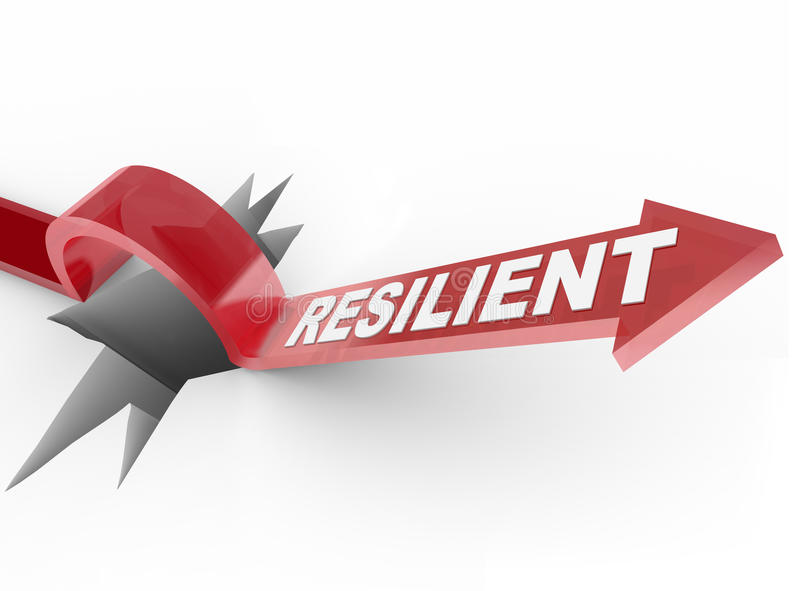 Resilient - Rising to Challenge and Overcoming a Problem. An arrow jumps over a hole, with the word Resilient to illustrate a winning attitude and determined vector illustration