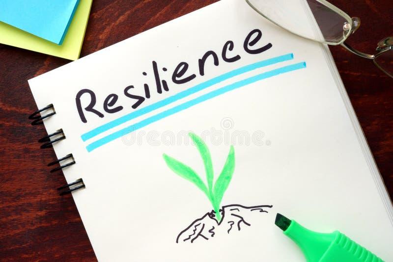 Resilienza scritta sul blocco note fotografia stock