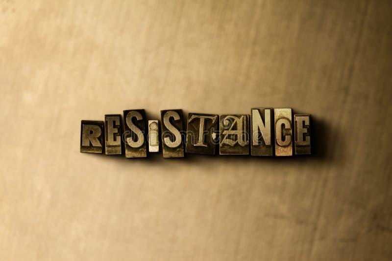 RESISTÊNCIA - close-up vintage sujo da palavra typeset no contexto do metal ilustração royalty free