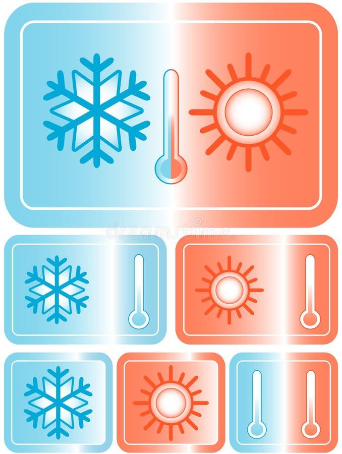 Resista a los iconos con el sol, el copo de nieve y el termómetro stock de ilustración