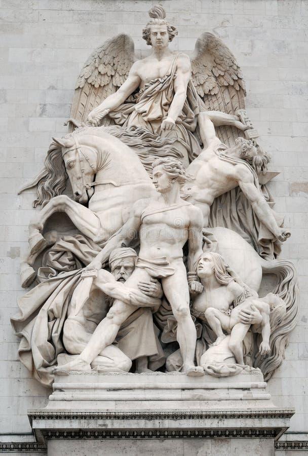 The Resistance. Sculpture La Resistance (Resistance) on facade of the Arc de Triomphe (Triumphal Arch), one of the most famous monuments in Paris, France stock images