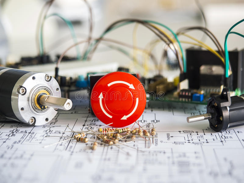 Resistance in the circuit elements stock photo