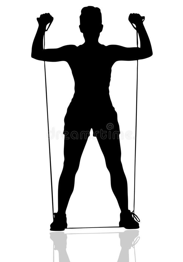 Resistance Press. Silhouetted Female Working out with a Resistance Band royalty free illustration
