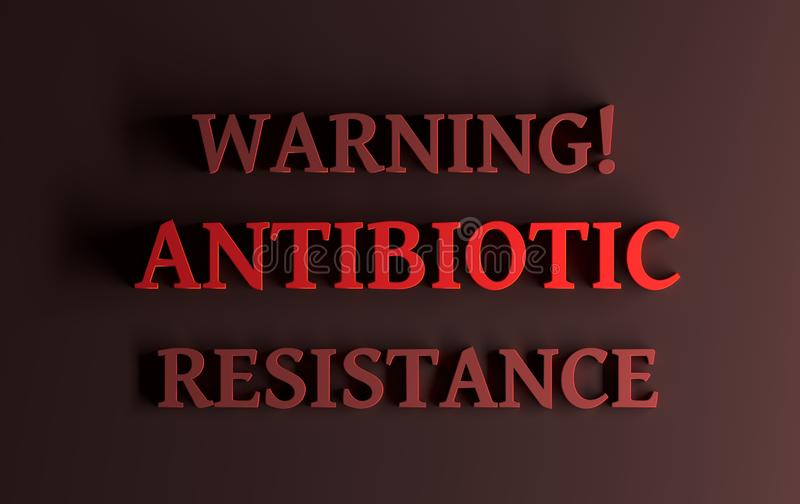 Resistencia antibiótico de la advertencia de las palabras stock de ilustración