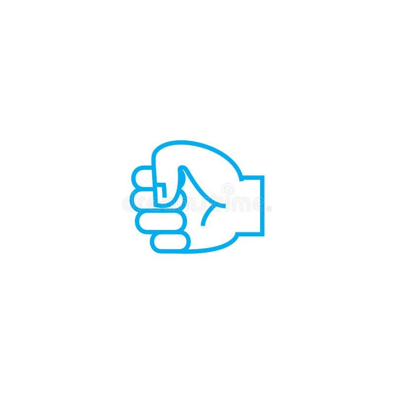 Resistendo al vettore di lotta allini leggermente l'icona del colpo Resistendo alla lotta descriva l'illustrazione, il segno line illustrazione di stock