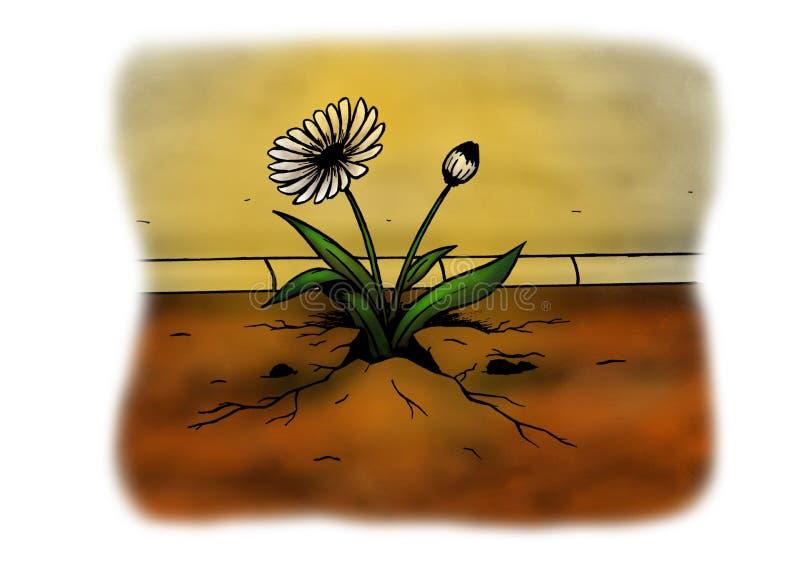 Resistendo alla pianta che rompe l'asfalto (2008) royalty illustrazione gratis