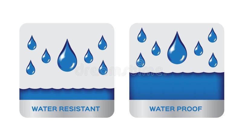 Resistent för vatten och motståndskraftig logo, symbol Blå version royaltyfri illustrationer