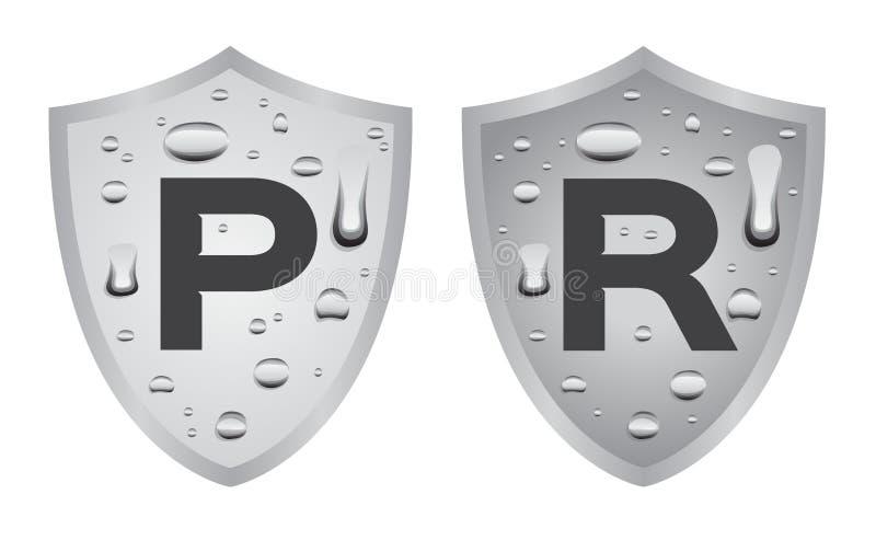 Resistent för vatten och motståndskraftig logo, symbol Blå version vektor illustrationer