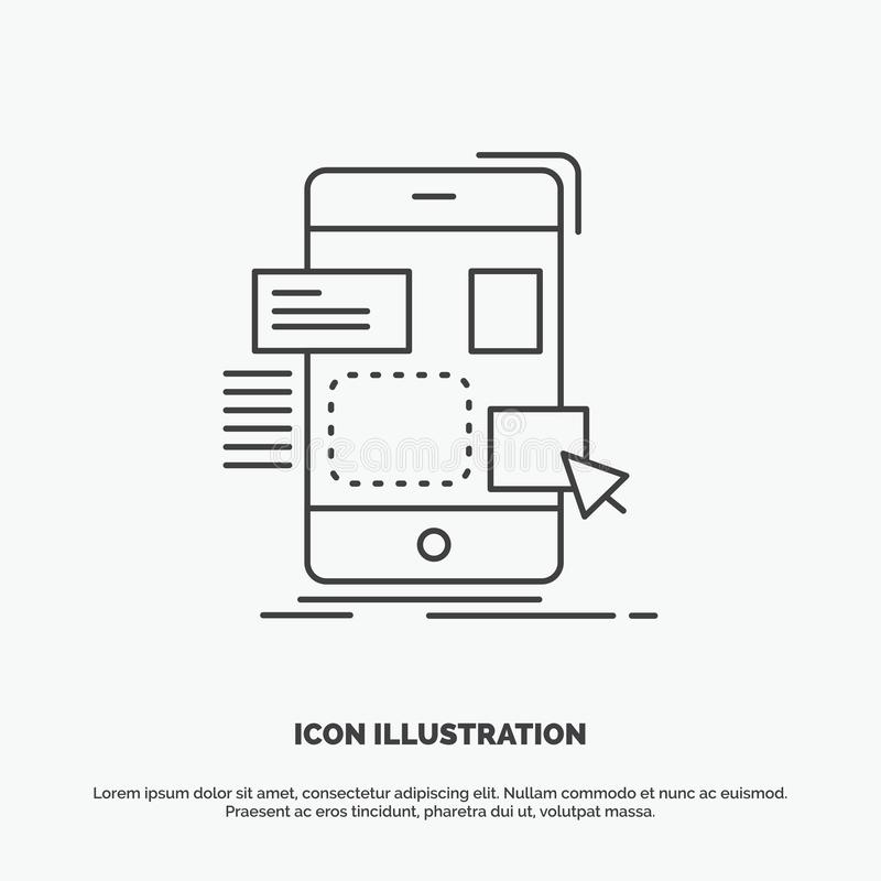 resistenza, cellulare, progettazione, ui, icona del ux Linea simbolo grigio di vettore per UI e UX, sito Web o applicazione mobil illustrazione di stock