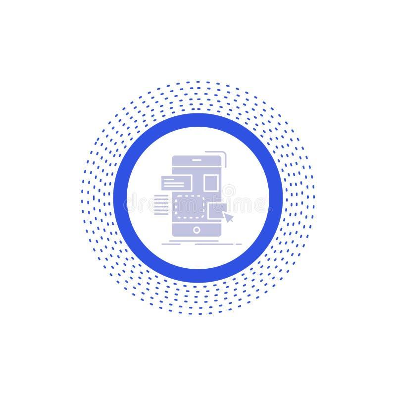 resistenza, cellulare, progettazione, ui, icona di glifo del ux Illustrazione isolata vettore royalty illustrazione gratis