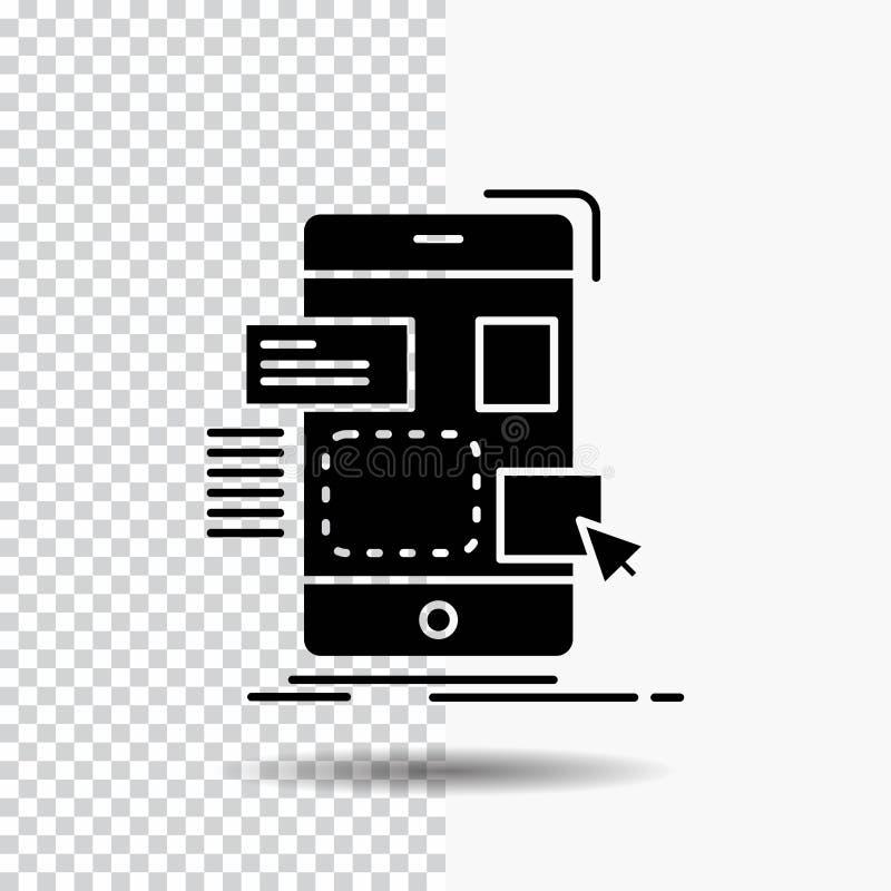 resistenza, cellulare, progettazione, ui, icona di glifo del ux su fondo trasparente Icona nera royalty illustrazione gratis