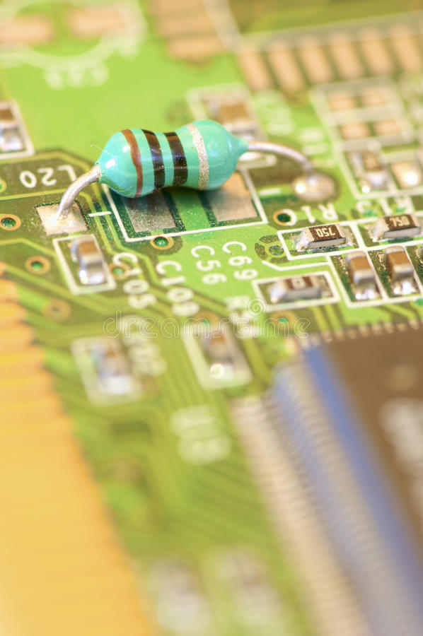 Resistor. In a electronic circuit board stock photography