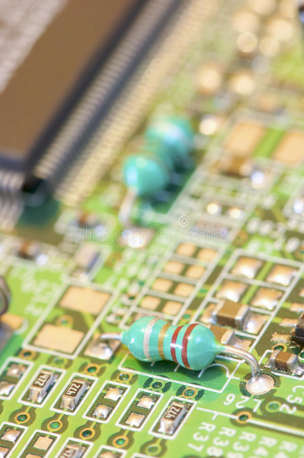 Resistor. In a electronic circuit board stock photo
