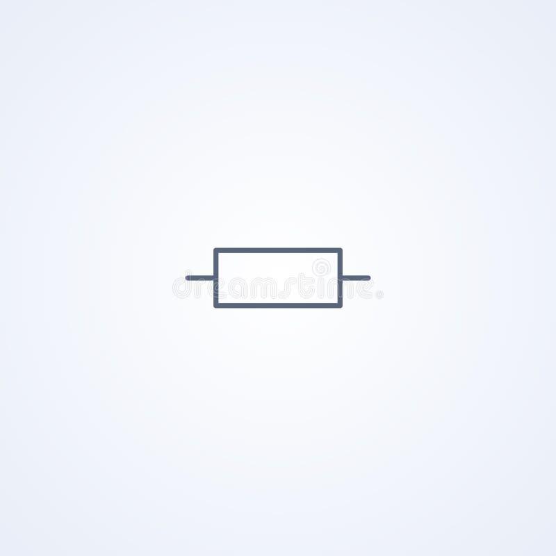 Resistor fixo, a melhor linha cinzenta símbolo do vetor ilustração royalty free