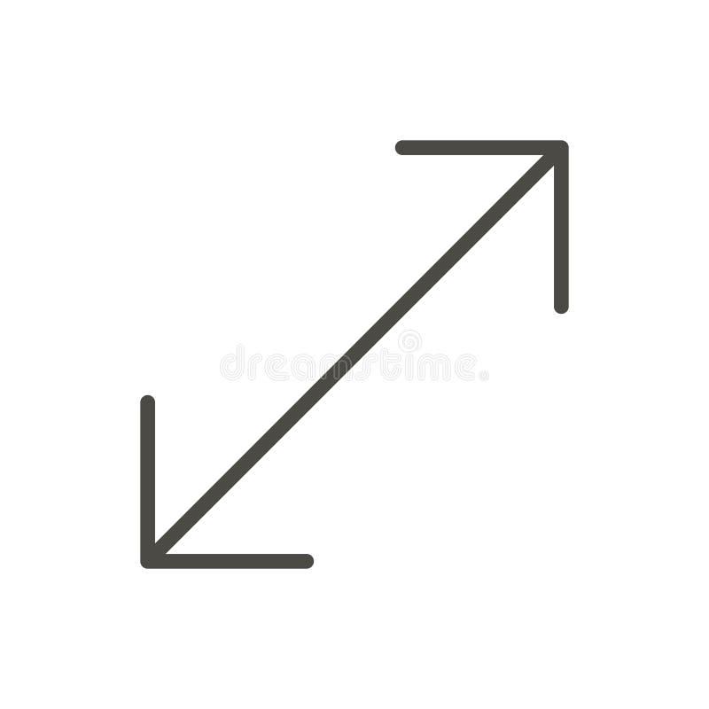Resize ikona wektor Kreskowy rozciągliwość symbol royalty ilustracja