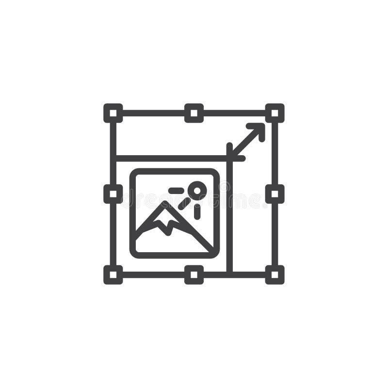 Resize a linha de imagem ícone ilustração stock