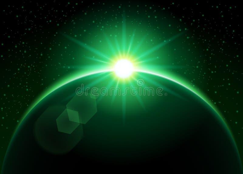 Resningsol bak planeten - gräsplan