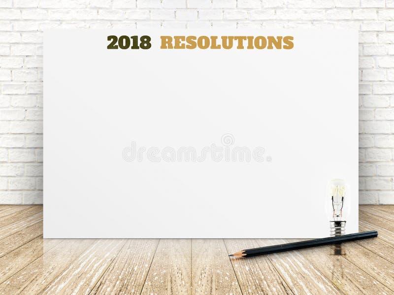 2018 resolotions op Witboekaffiche op witte marmeren ruimtemuur royalty-vrije stock foto