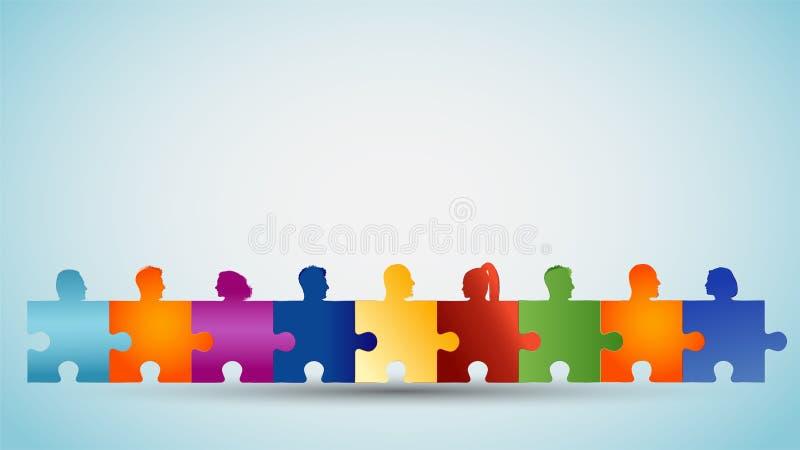 Resolu??o de problemas Trabalhos de equipe ou comunidade do conceito Grupo de povos coloridos das cabeças da silhueta que formam  ilustração stock