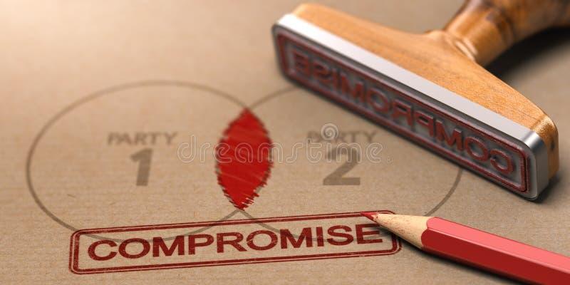 Resolución de conflicto, compromiso entre dos partidos ilustración del vector