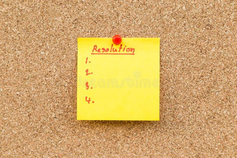 Resoluciones en blanco pegajosas de la nota por Año Nuevo fotografía de archivo